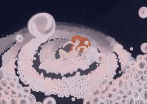 Illustration d'une femme prenant un bain de bulle dans l'espace.