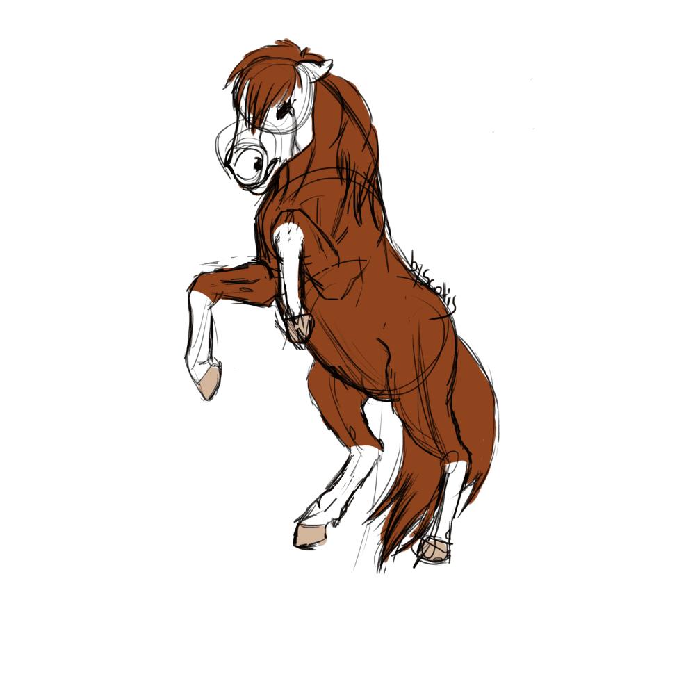 Dessin d'un cheval alezan cabrant