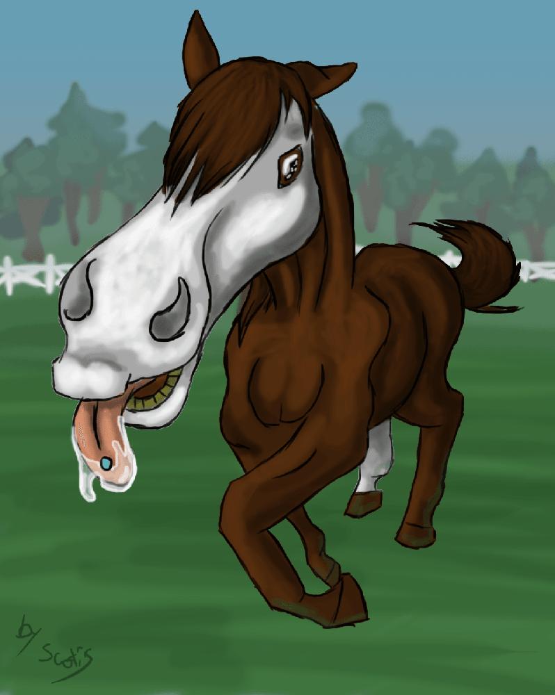 Dessin de cheval faisant un selfie