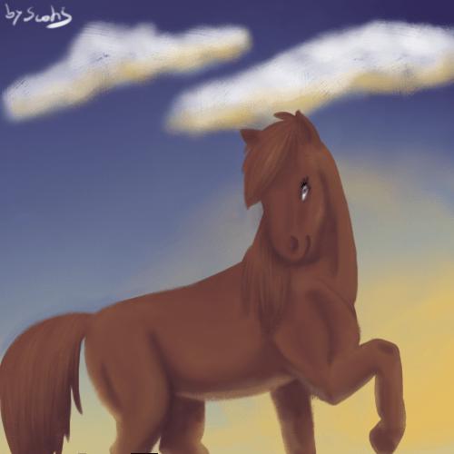 Un cheval alezan devant un ciel
