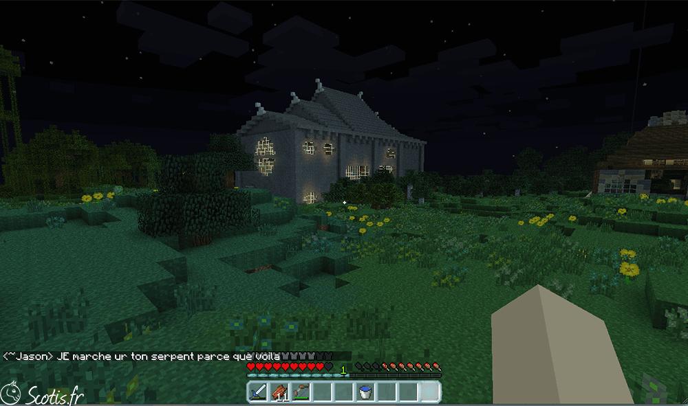 Toit de la maison serpent construit sur Minecraft par Scotis
