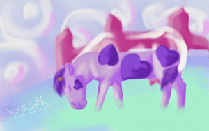 Dessin sur téléphone d'une vache par Scotis