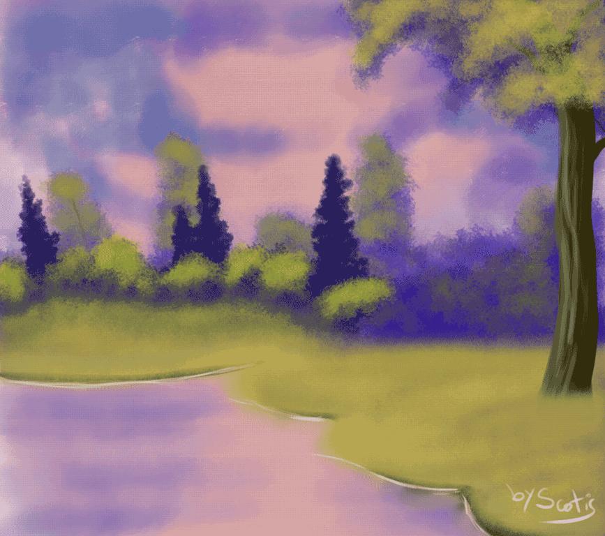 Peinture paysage inspiré de Bob Ross