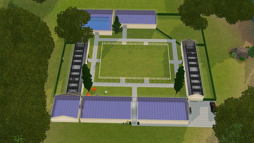 Intérieur d'un bâtiment d'élevage pour chiens Sims 3