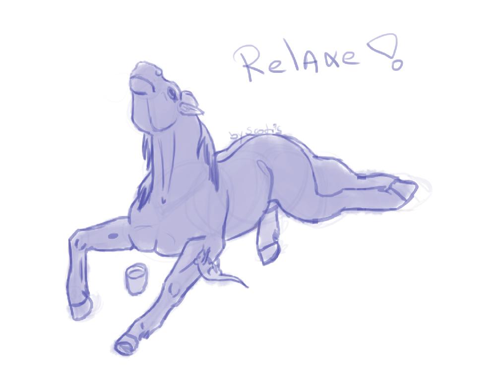 Dessin cheval et rat buvant du thé
