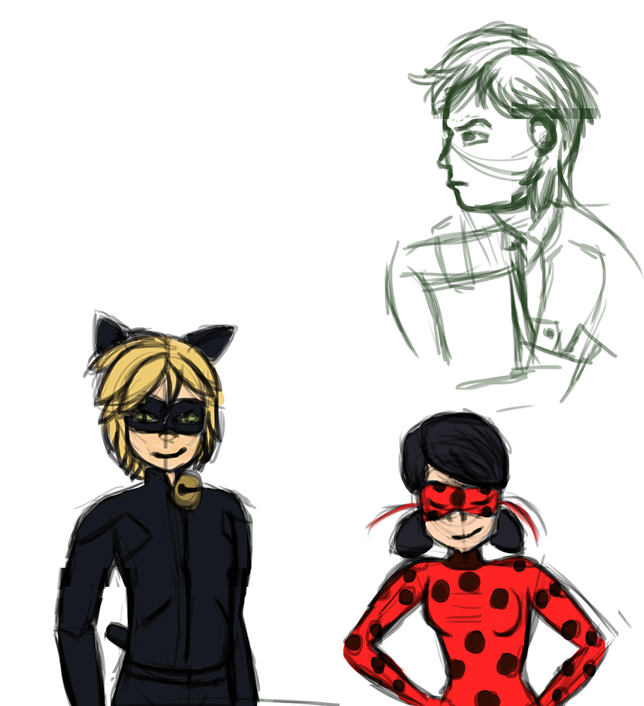Croquis d'après modèle de ChatNoir et Ladybug de la série Miraculous Ladybug