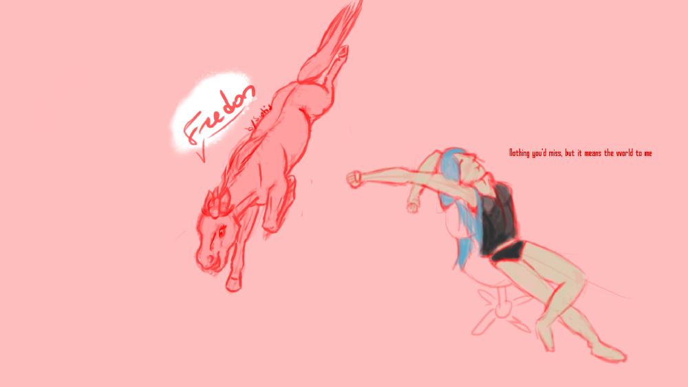 Dessin d'un cheval plongeant et fille s'étirant