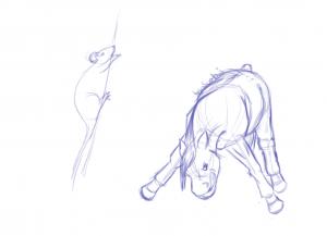 Dessin de rat et poney pas content