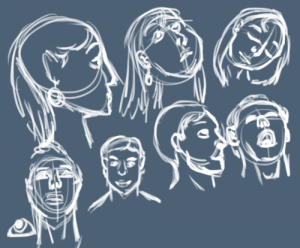 Croquis de visage humain