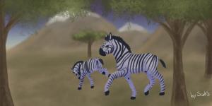 Dessin de deux zèbres dans la savane