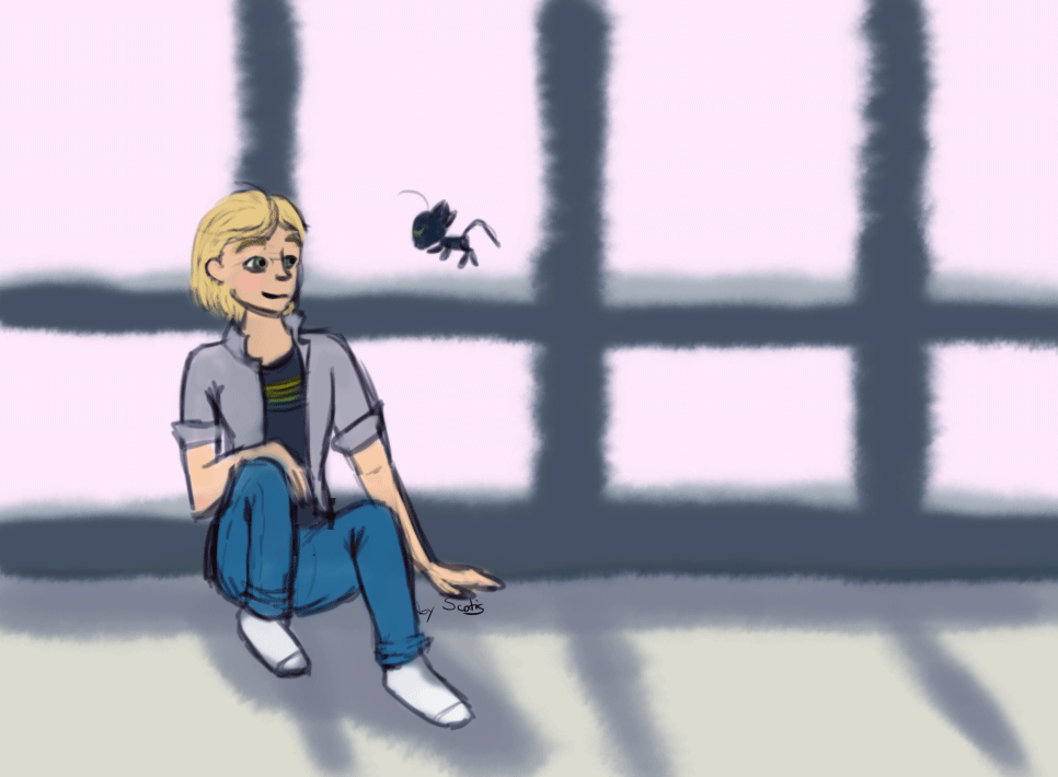 Dessin d'Adrien et Plagg de la série Miraculous Ladybug