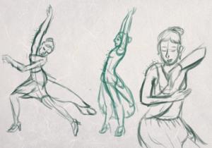 Gesture drawing inspiré de la pub pour le parfum Kenzo World