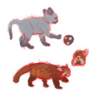 Petit chat mignon et un panda roux par Scotis