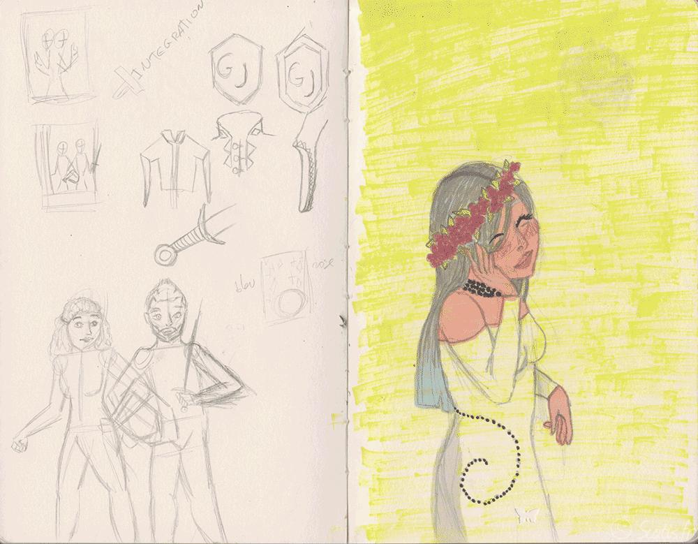 Page de recherche pour un double-portrait et portrait simple d'Evangéline.