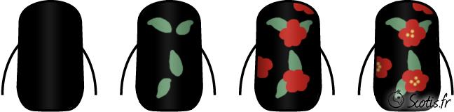 Nail art moyennement simple avec fonds noirs et fleurs rouges en pas à pas