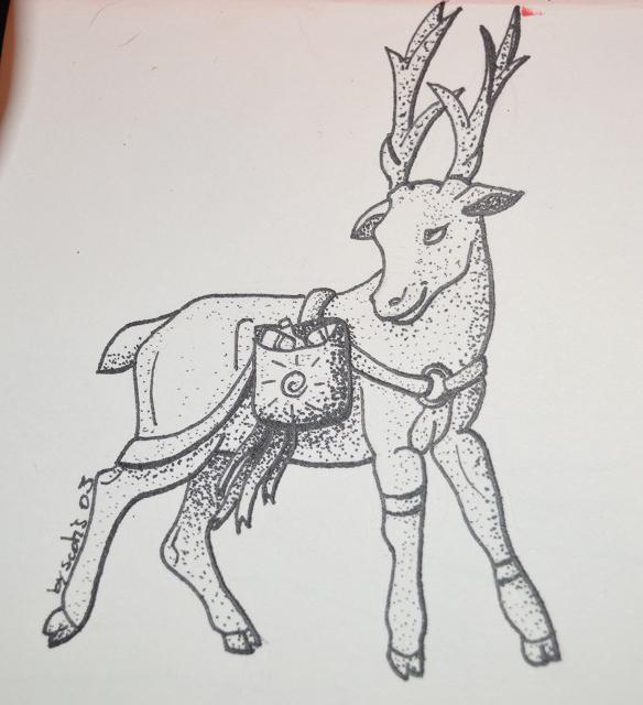 Cerf dans le cadre d'Inktober par Scotis