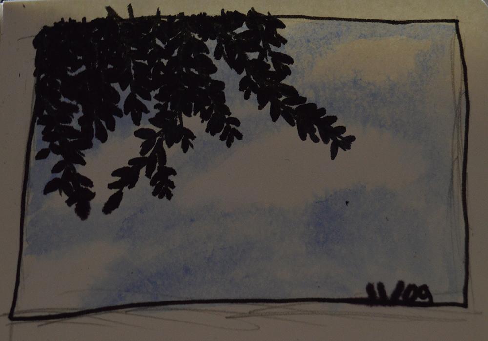 Ciel haut-marnais par Scotis réalisé à l'aquarelle et à l'encre