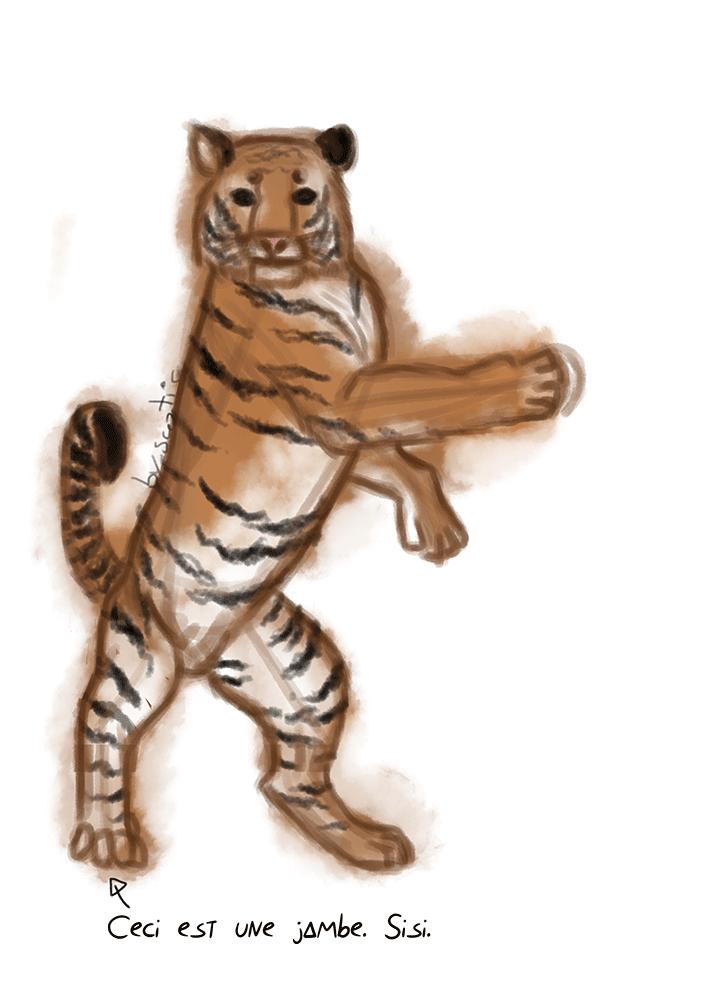 Tigre debout sur ses pattes arrière, réalisé sous Photoshop