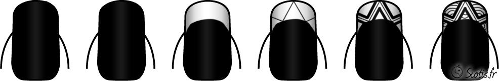 Pas à pas d'un nail art noir et blanc par Scotis
