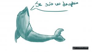 Dessin rapide d'un dauphin bleu