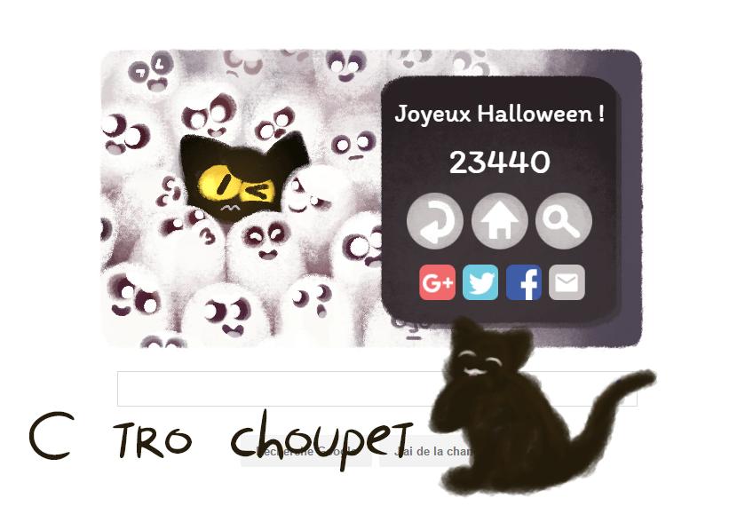 Petit croquis sur mon maximum de point atteint sur le google doodle d'Halloween/Samhain