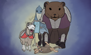 Dessins d'un shoebill, mouton, chat et ours en tenu de jaffa