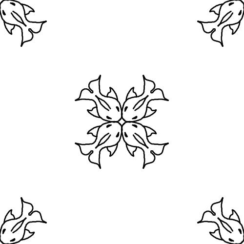 Mandala avec des pitits poissons
