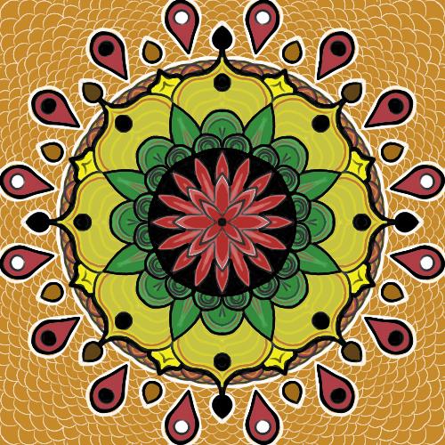 Mandala en couleur