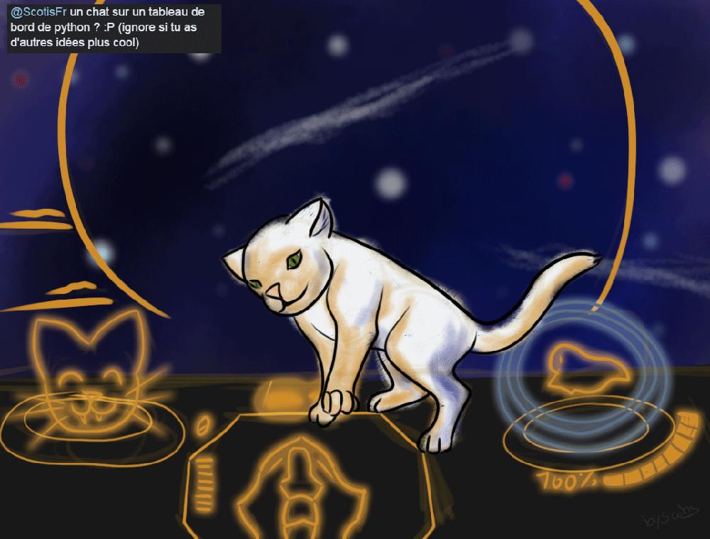 Croquis d'un chat dans un cockpit de Python (Elite Dangerous) pour Discocat