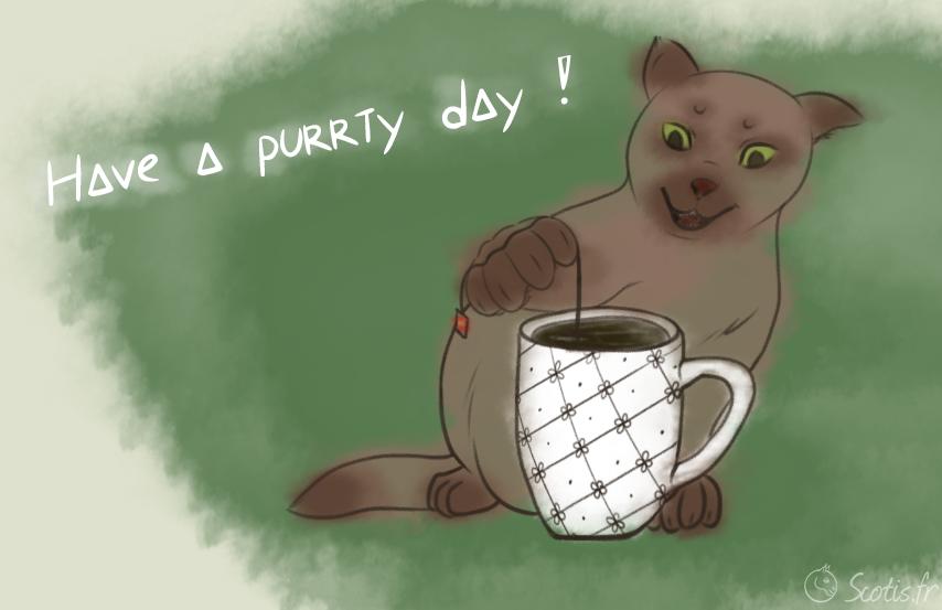Dessin de chat avec du thé et une tasse