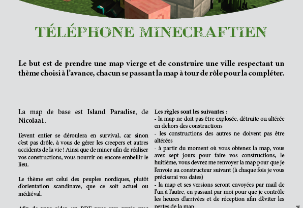 Affiche évènement de constructions Minecraft