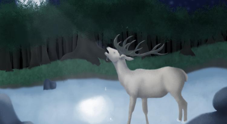 Dessin cerf buvant au clair de lune