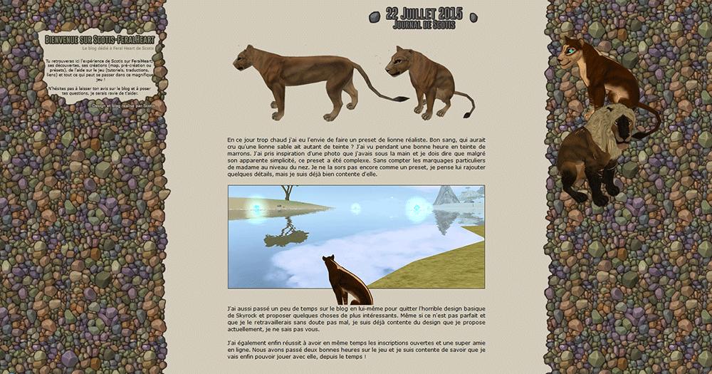 Web-design d'un blog skyrock sur le jeu FeralHeart en français