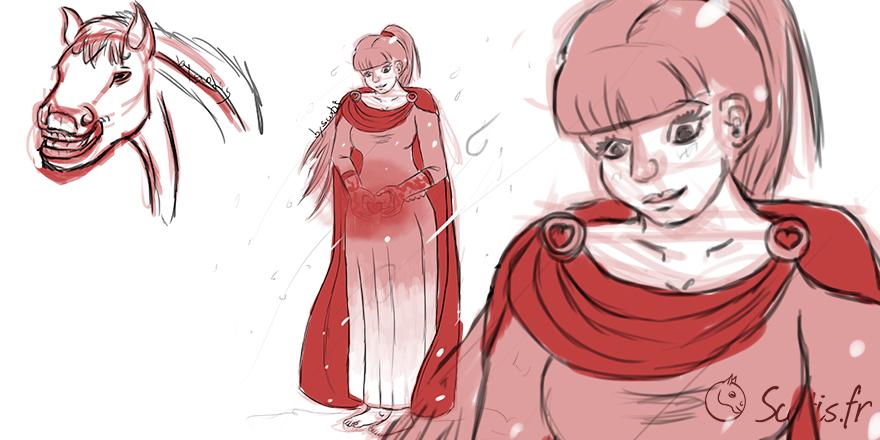 Jeune femme dans la neige, croquis par Scotis