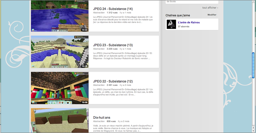 Habillage de la chaine Youtube de Scotis sur Minecraft