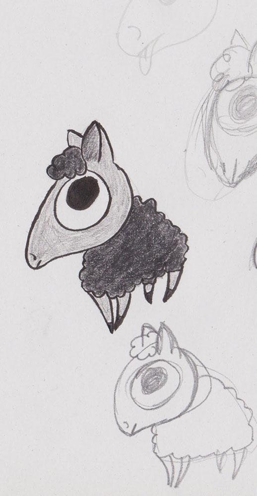 Dessin préparatoire du logo Black Sheep