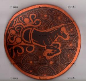 Poterie grattée représentant une licorne par Scotis