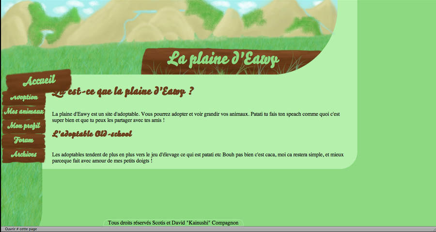Web-design jeu d'adoptable