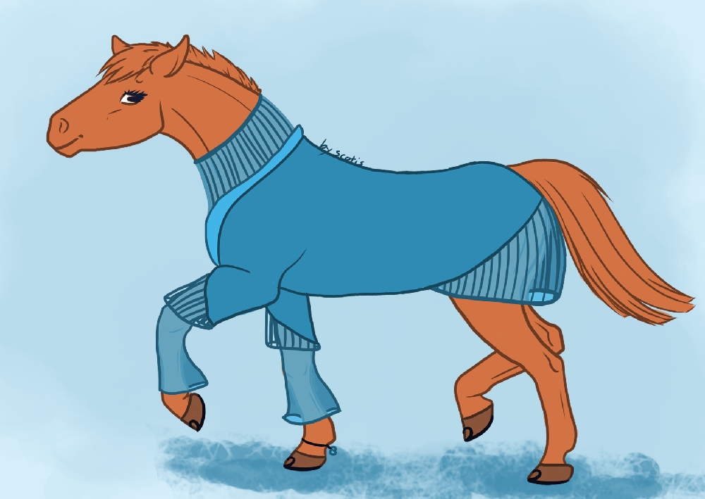 Un poney en robe ou un cheval alezan dans une robe bleue