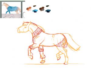 Croquis préparatoire du dessin d'un cheval alezan dans une robe