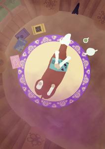 Cheval alezan couché sur le dos en lisant un livre dans son arbre-maison