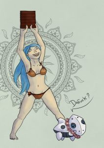 Dresseuse pokémon en maillot de bain avec sa galekid