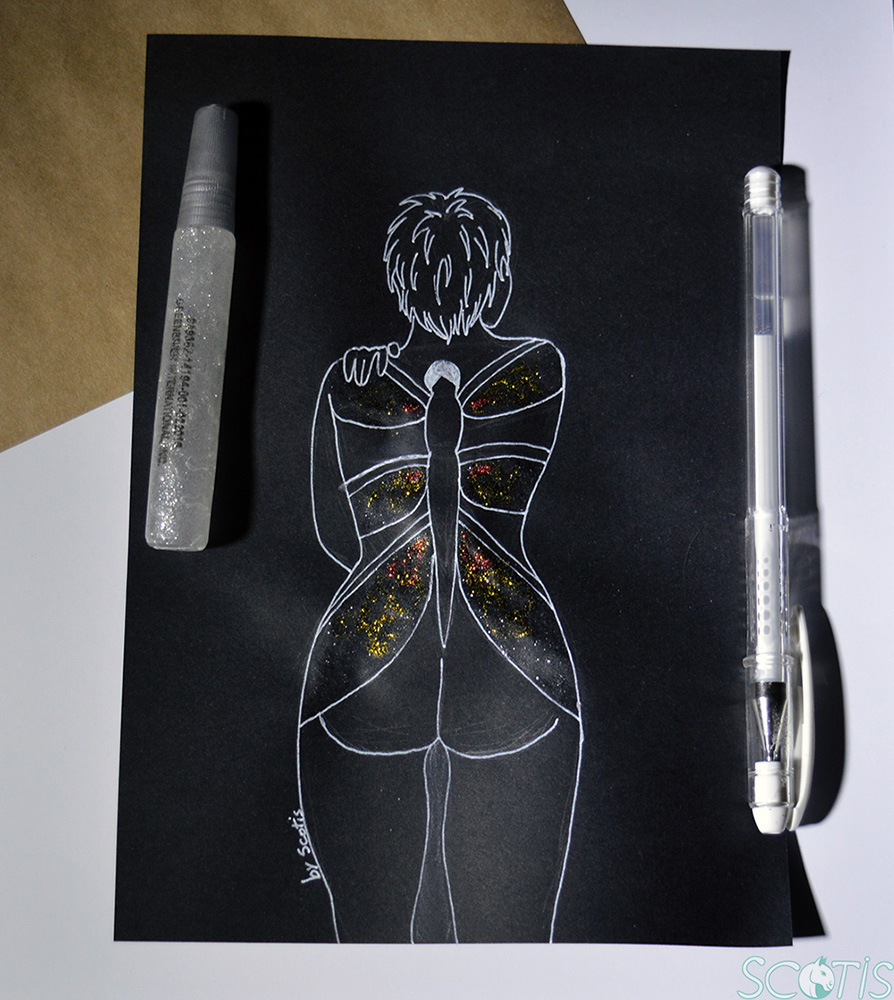 Illustration noir et blanche avec tatouage pailleté