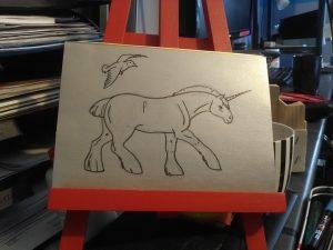 Dessin d'une licorne et d'une mouette par Scotis