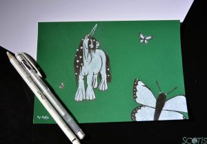 Licorne et papillons, illustration par Scotis