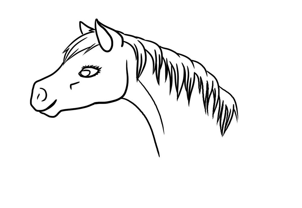 Petit line-art d'un portrait de cheval