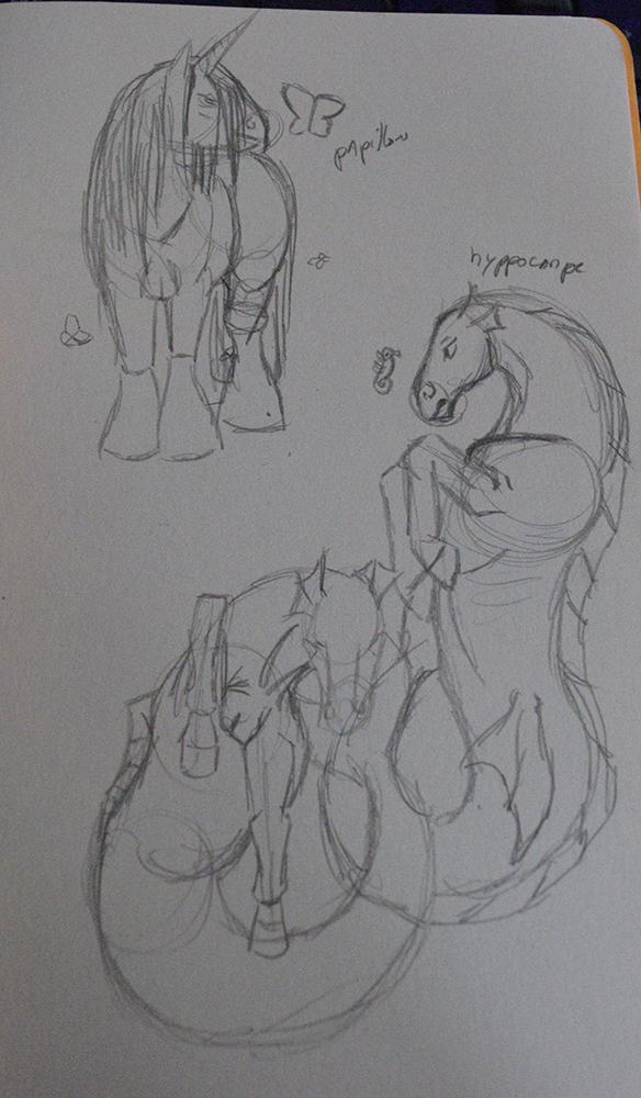 Croquis de cheval de trait aux papillons et chevaux marins par Scotis