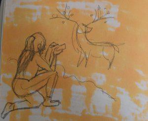 Croquis ou recherche d'une dresseuse pokémon observant un xerneas, croquis par Scotis