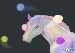 Cheval gris avec cinq orbes de lumières