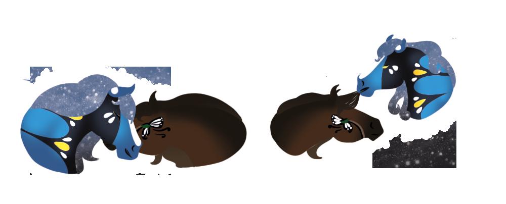 Saillie entre deux chevaux, dessin par Scotis